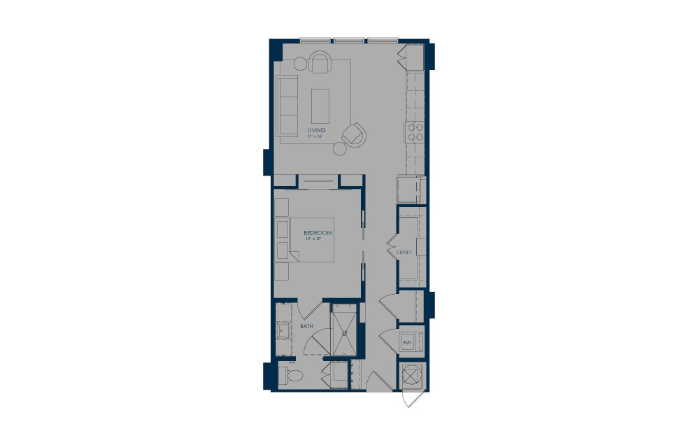 A18 - 1 bedroom floorplan layout with 1 bath and 720 square feet.