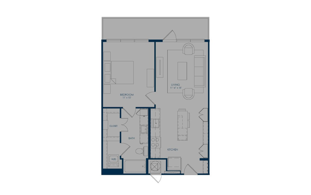 A24d - 1 bedroom floorplan layout with 1 bath and 720 square feet.