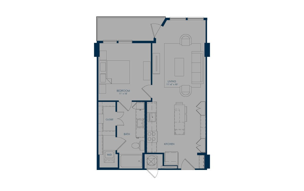 A24e - 1 bedroom floorplan layout with 1 bath and 729 square feet.