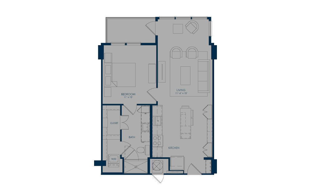 A24f - 1 bedroom floorplan layout with 1 bath and 737 to 749 square feet.
