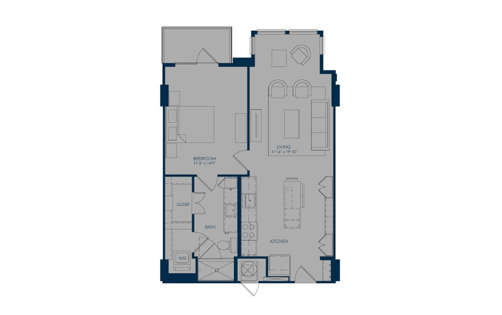 A24h - 1 bedroom floorplan layout with 1 bath and 778 square feet.