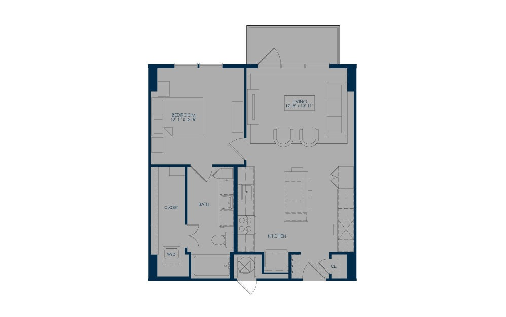 A27 - 1 bedroom floorplan layout with 1 bath and 756 square feet.
