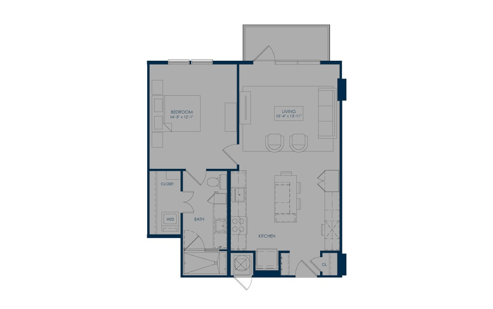 A27a - 1 bedroom floorplan layout with 1 bath and 782 square feet.