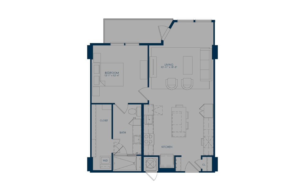 A27d - 1 bedroom floorplan layout with 1 bath and 813 square feet.