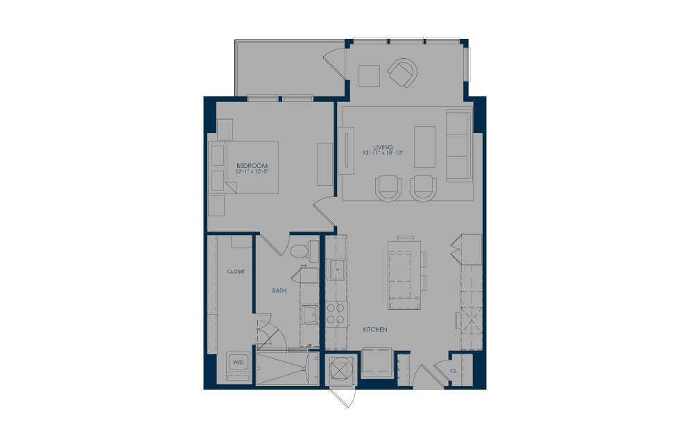A27e - 1 bedroom floorplan layout with 1 bath and 821 to 875 square feet.