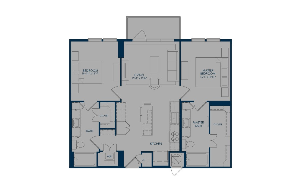 B36 - 2 bedroom floorplan layout with 2 baths and 1026 to 1059 square feet.