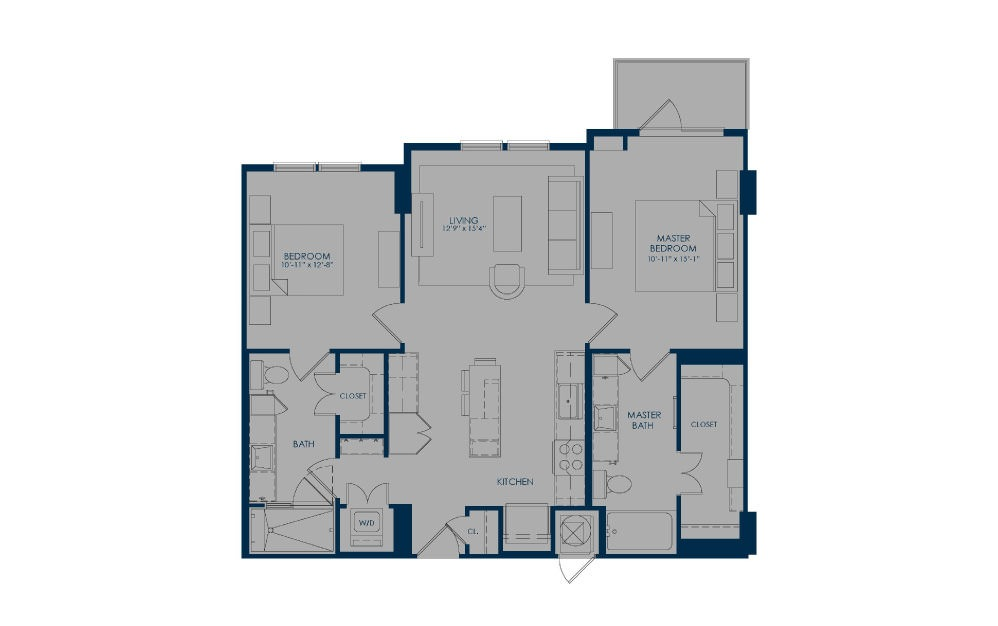 B36a - 2 bedroom floorplan layout with 2 baths and 1056 square feet.
