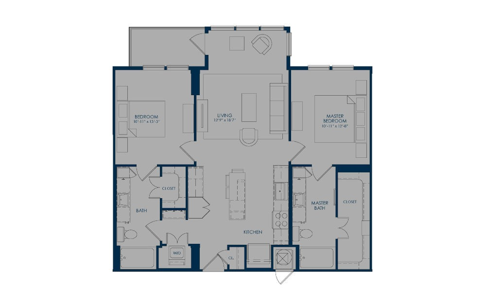 B36c - 2 bedroom floorplan layout with 2 baths and 1091 square feet.