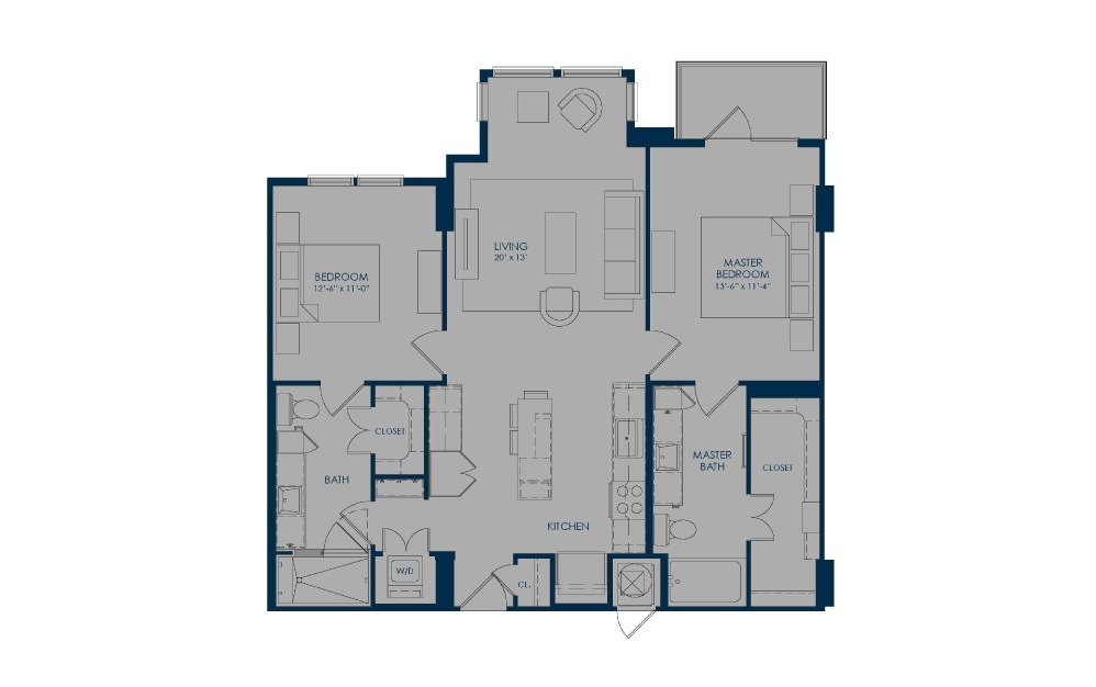 B36f - 2 bedroom floorplan layout with 2 baths and 1112 square feet.