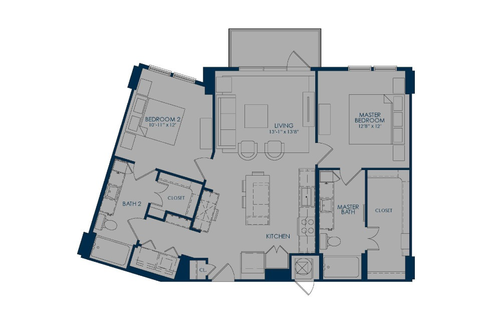 B43 - 2 bedroom floorplan layout with 2 baths and 1096 square feet.