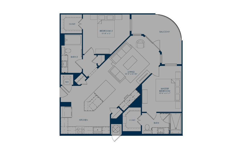 BIC36 - 2 bedroom floorplan layout with 2 baths and 1135 to 1139 square feet.