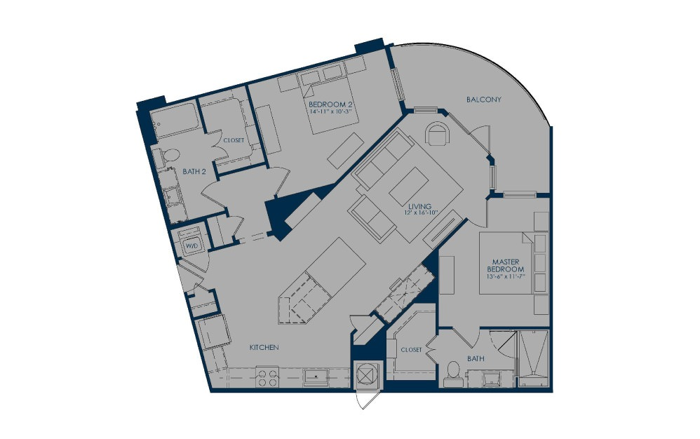 BIC36b - 2 bedroom floorplan layout with 2 baths and 1217 square feet.