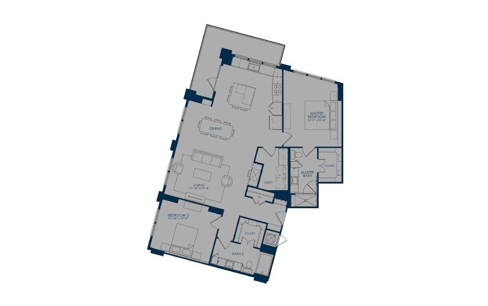BOC - 2 bedroom floorplan layout with 2 baths and 1529 square feet.