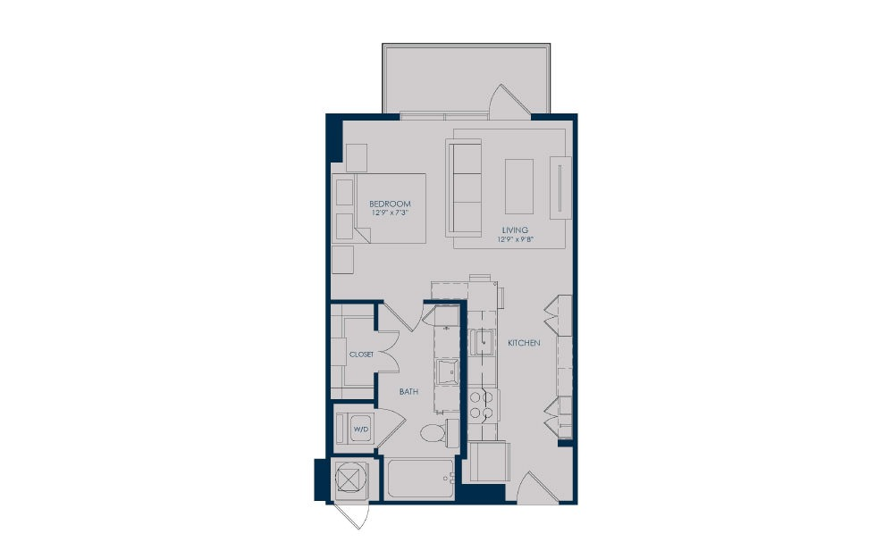 S18 - Studio floorplan layout with 1 bath and 504 to 513 square feet.