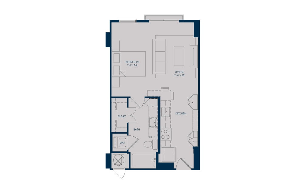 S18b - Studio floorplan layout with 1 bath and 513 to 570 square feet.