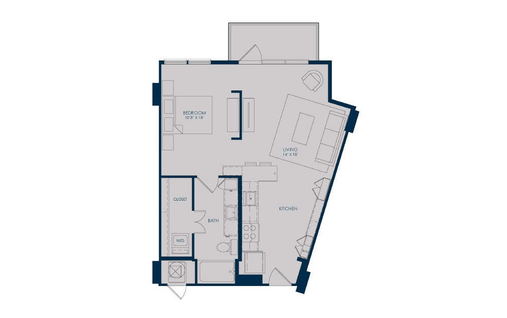 S18d - Studio floorplan layout with 1 bath and 684 square feet.