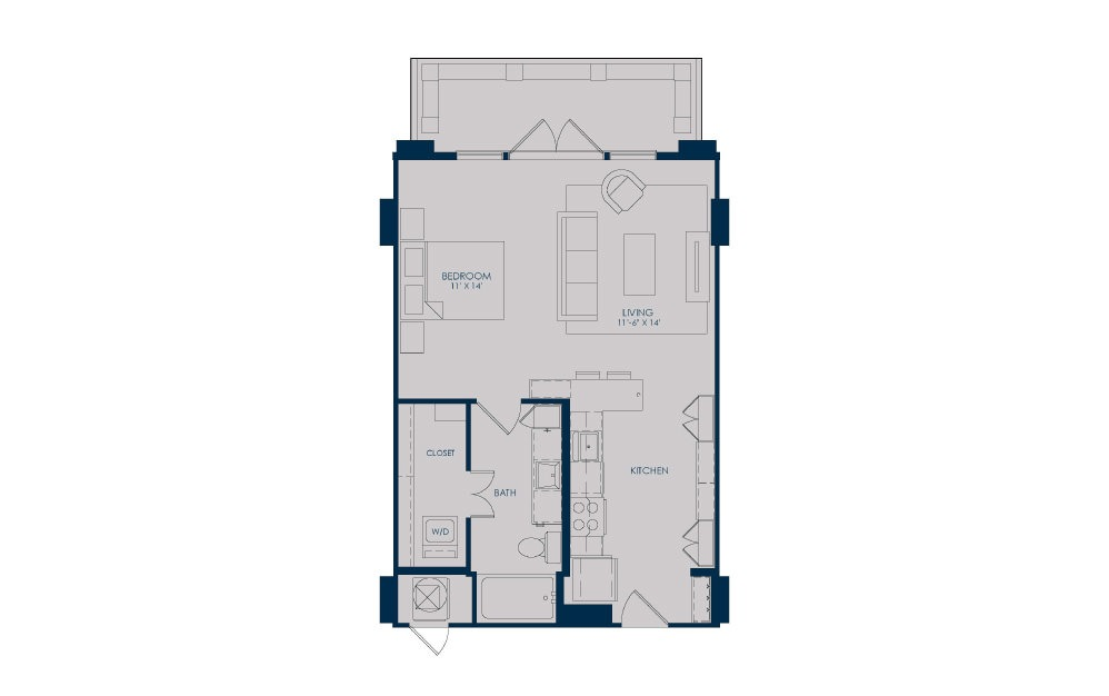 S21 - Studio floorplan layout with 1 bath and 641 square feet.