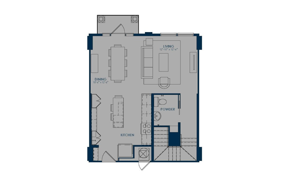TH - 2 bedroom floorplan layout with 2.5 baths and 1292 to 1376 square feet. (Floor 1)