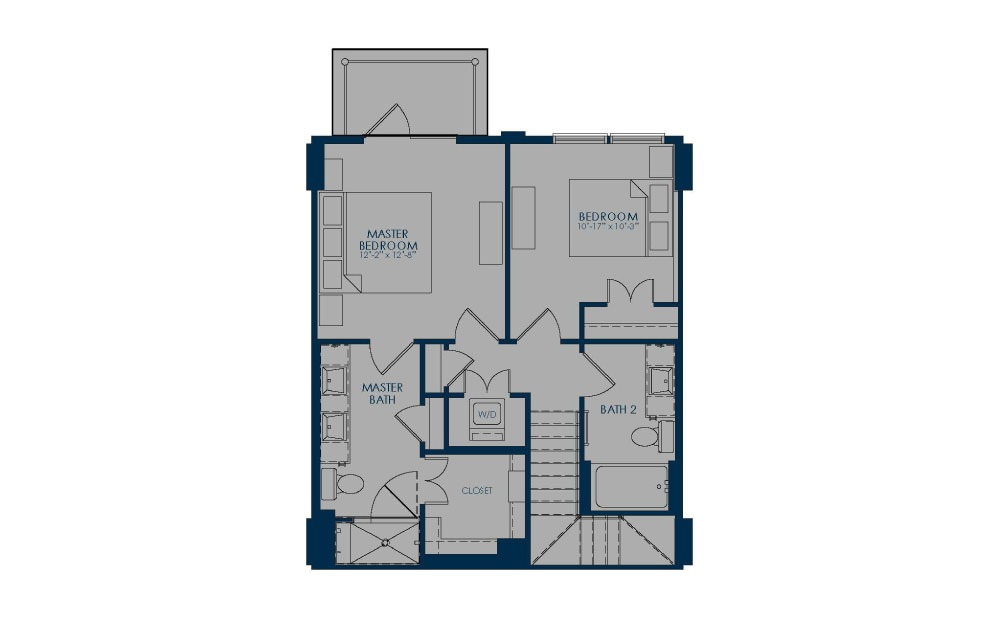TH - 2 bedroom floorplan layout with 2.5 baths and 1292 to 1376 square feet. (Floor 2)